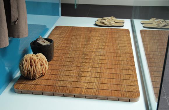 Mdesign tappeto doccia in legno tappetino in bambù scuro